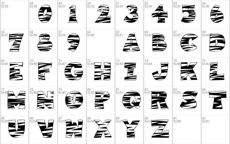 101! Tiger Print Windows font - free for Personal
