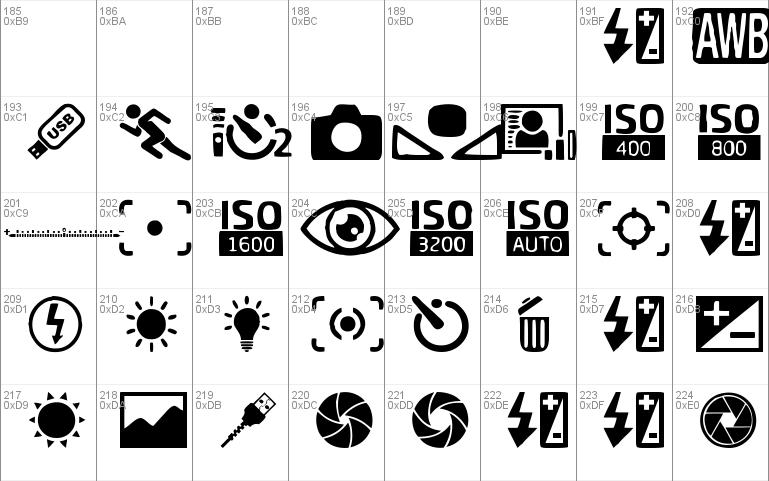 Digital Camera Symbols Windows Font Free For Personal Commercial