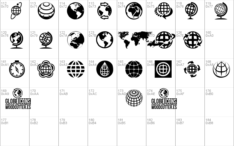 Globe Icons font - free for Personal