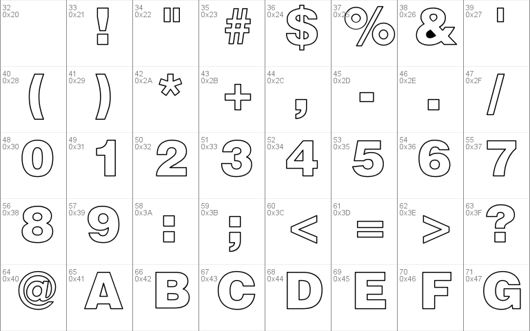 Helvetica Black Hollow Windows font - free for Personal