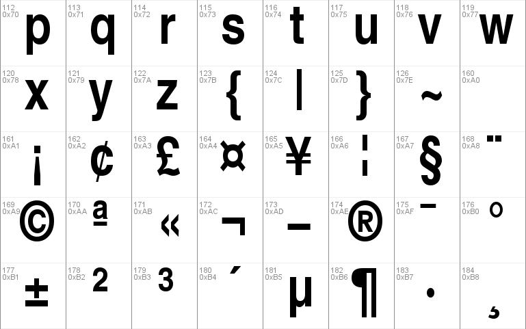 Font Helvetica-Narrow-Bold Regular