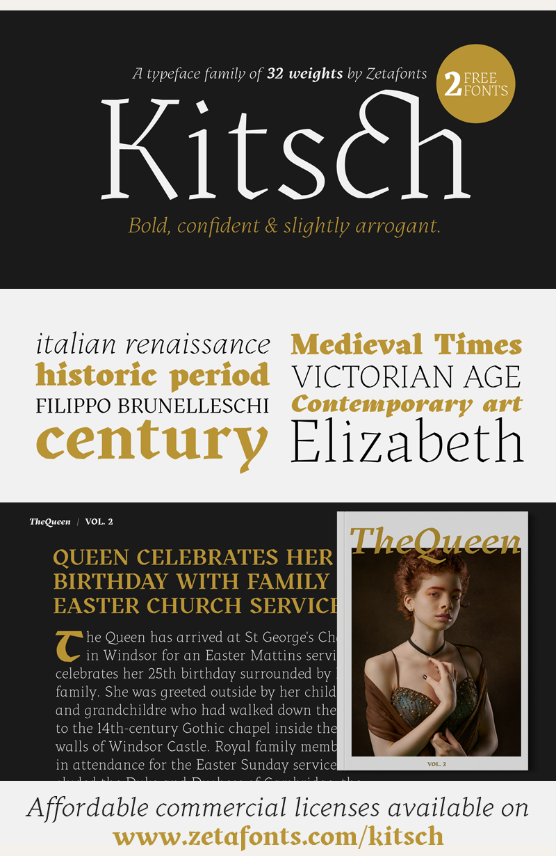 Kitsch Trial Windows font - free for Personal