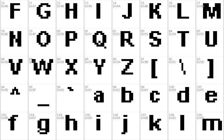 Pixelated Arial Bold 11 font - free for Personal