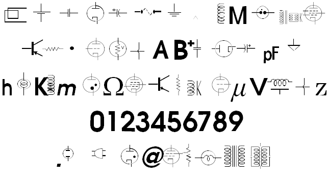 vac tube symbols v1 2 font - free for Personal | Commercial